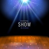Realistic Theater Wooden Stage Or Floor With Spotlight Vector Festive Template With Lights And Scene poster