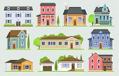 Cottage House Facede Vector City Street View Buildings Of Town House Face Side Modern World House Bu poster