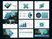 Blue Abstract Presentation Templates, Infographic Elements Template Flat Design Set For Annual Repor poster