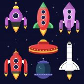 Rockets And Space Shuttles. Vector Illustrations In Flat Style. Rocket And Shuttle Launch To Galaxy, poster