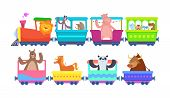 Funny Cartoon Animals Rides In Cartoon Trains. Zoo Animals In Toy Train Traffic, Panda And Bull, Hor poster