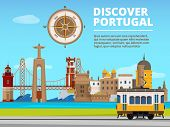 Urban Landscape Of Lisabon Portugal. Culture Objects Set. Vector Portugal Building And Landmark, Tra poster