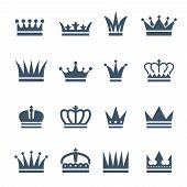 Set Of Monochrome Crowns. Illustrations For Luxury Badges. Vector Crown For King, Royal Luxury Vinta poster