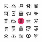 E-commerce, Online Shopping, Ecommerce Line Icons Set. Modern Graphic Design Concepts, Simple Outlin poster