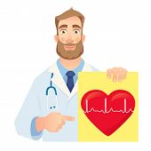 Cardiologist Holding Banner. Medical Test. Medical Stethoscope And Red Heart With Cardiogram. Vector poster