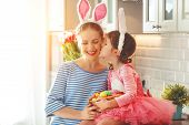 Happy Easter! Family Mother And Child Daughter With Ears Hare Getting Ready For Holiday poster