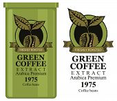 A Tin Can With Label For Green Coffee Extract. Vector Label For Green Coffee With Coffee Bean And In poster