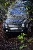 Dirty Offroad Car In Fall Forest With Headlights On, Defocused. Powerful Black Suv Rides With Obstac poster