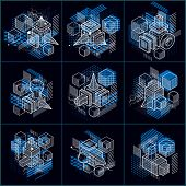 Abstract 3d Shapes Compositions, Vector Isometric Backgrounds. Compositions Of Cubes, Hexagons, Squa poster