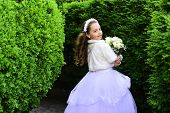 Girl Child In Green Summer Park, Spring. Little Girl In White Dress With Rose Flower Bouquet. Weddin poster