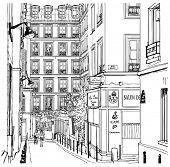 Постер, плакат: Векторная Иллюстрация стрит рядом с кварталом Монмартр в Париже