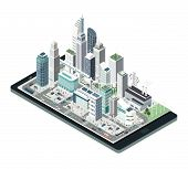 Smart City, Augmented Reality And Technology Concept: Metropolis With Skyscrapers And People On A Sm poster