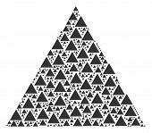 Triangle Figure Collage Composed In The Set Of Triangle Figure Elements. Vector Iconized Collage Con poster