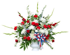 picture of urn funeral  - Colorful flower arrangement in urn isolated on white - JPG
