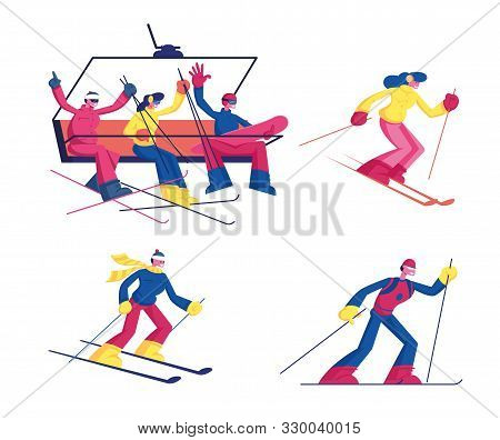 poster of Set Of Skiing Winter Sport Activity Isolated On White Background. Ski Sportsmen And Sportswomen With