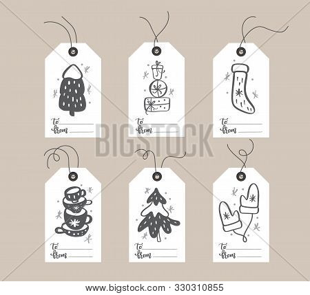 poster of Set Of Hand Drawn Doodle Scandinavian Christmas Element Tags With Place For Text. Collection Holiday