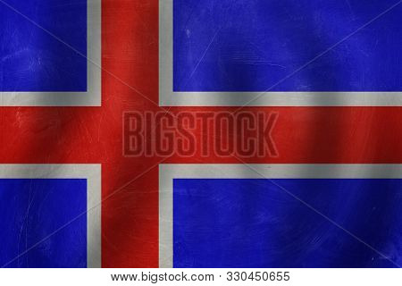 poster of Iceland Concept With The Icelandic Flag Background.