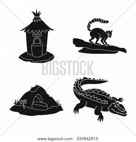 poster of Vector Illustration Of Fauna And Entertainment Logo. Collection Of Fauna And Park Stock Vector Illus