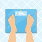 Weight Scale And Foot Top View. Bathroom Floor, Control Of The Weight, Diet. Healthy Person With Nor poster