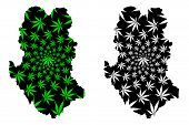 Sukhothai Province (kingdom Of Thailand, Siam, Provinces Of Thailand) Map Is Designed Cannabis Leaf  poster