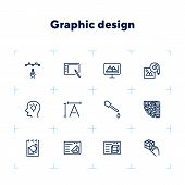 Graphic Design Icon Set. Line Icons Collection On White Background. Device, Drawing, Interface. Crea poster