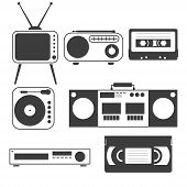 Set Of Black And White Objects Of Old Home Appliances Of The 80s And 90s In A Flat Style Tape, Casse poster