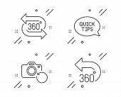 Quickstart Guide, Recovery Photo And 360 Degree Line Icons Set. 360 Degrees Sign. Helpful Tricks, Ba poster