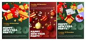 Happy New Year Party Green, Red Banner Set With Gifts. New Year, Christmas, Winter. Calligraphy With poster