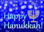 Jewish Holiday Hanukkah Greeting Card - Traditional Hanukkah Symbols - Menorah With Nine Branches, S poster