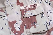 Us Army Army Desert Storm Camouflage Uniform With Name Badge poster