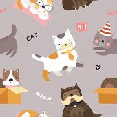 Cat Pattern. Cute Kittens, Funny Playful Pets Seamless Vector Childish Textile Texture. Pet Cat Meow poster