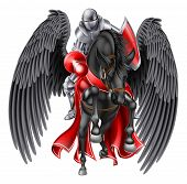 Medieval Knight Mounted On A Black Pegasus Legendary Mythological Winged Horse Holding A Lance Ready poster