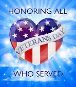 A Veterans Day Design Of A Heart And American Flag With A Sky Background poster