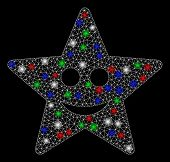 Bright Mesh Happy Star With Glare Effect. White Wire Carcass Triangular Mesh In Vector Format On A B poster
