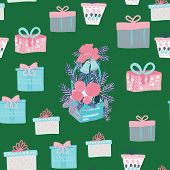 Gift And Presents, Basket With Christmas Decor Seamless Pattern. Pink, Blue And Green Colours Textur poster