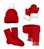 Winter Clothes. Scarf Mittens Stocking Snow Hat With Fur Season Fashion Red Christmas Clothes Vector poster