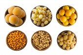 Yellow Berries/fruits Isolated On White Background. Collage Of Different Yellow Berries. Yellow Curr poster