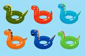 Dinosaurs Swimming Ring. Smiling Dinosaur Pool Objects, Funny Children Lifebuoys Isolated On Water B poster