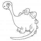 Dinosaur Icon. Vector Illustration Of A Cartoon Dinosaur. Cute Funny Dinosaur. Hand Drawn Dinosaur. poster