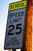 School Speed Limit Sign For Speed When Children Are Present poster
