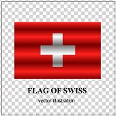 Bright Button With Flag Of Swiss. Swiss National Day Banner. Vector Illustration With Transparent Ba poster