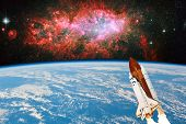 Space Shuttle Enters Space Into Earth Orbit And Travels To Unknown Distant Galaxies Art Galaxy.the E poster
