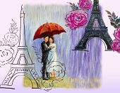 France Eiffel Tower Couple Young Man, Woman With Red Umbrella And Rose. Watercolor And Oil Paintings poster