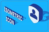 Isometric User Protection Icon Isolated On Blue Background. Secure User Login, Password Protected, P poster
