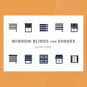 Vector Glyph Isolated Icons Set Window Blinds And Shades. Window Treatments And Curtains Glyph Icons poster