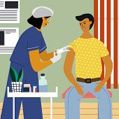 Vaccination And Immunization Concept. Man Make A Flu Vaccine Injection.  Doctor With Syringe And Glo poster