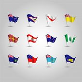 Vector Set Of Waving Polynesian Flags On Silver Pole - Icon Of States American Samoa, Cook Islands,  poster