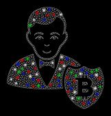 Bright Mesh Bitcoin Protector With Glare Effect. White Wire Carcass Polygonal Mesh In Vector Format  poster