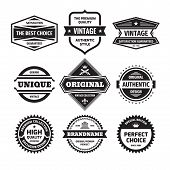 Business Badges Vector Set In Retro Design Style. Abstract Logo. Premium Quality. Satisfaction Guara poster