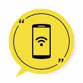 Black Smartphone With Free Wi-fi Wireless Connection Icon Isolated On White Background. Wireless Tec poster